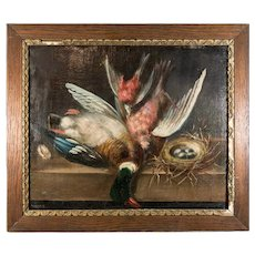 "Antique French Oil Painting, Nature Morte, Fruits of the Hunt, Duck and Game Birds, 21.5"" x 18.5"" Oak Frame"