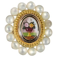 RARE Antique French Palais Royal Pendant, 18k Gold and Pearl, Eglomise Painting