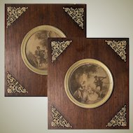 PAIR: Antique French Empire Dore Bronze and Wood Frame Set, Romantic Intaglio Print