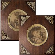 PAIR: Antique French Empire Dore Bronze and Wood Frame Set, Romantic Intaglio Print