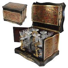 Rare Antique French Napoleon III Boulle Tantalus, Cave a Liqueur, 20pc Glassware