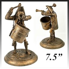 "Antique French Figural Match Holder, 7.5"" Revolutionary Soldier, Bugle and Spoon, Soup Pot"