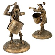 """Antique French Figural Match Holder, 7.5"""" Revolutionary Soldier, Bugle and Spoon, Soup Pot"""