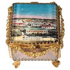 Antique French Eglomise Souvenir Casket, Box, View Of The Military Camp de Bitche, France. MOP