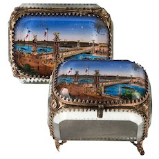 Antique French Eglomise Paris Souvenir Casket, Box, Pont Alexandre II Bridge, c.1900 Paris Expo