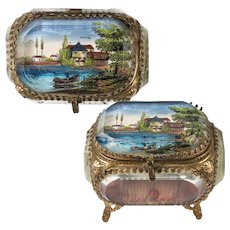 Antique French Eglomise Paris Souvenir Casket, Box, View Of Vittel, the Mineral Water Source