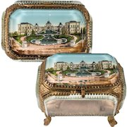 Antique French Eglomise Souvenir Casket, Box, View Of The Chateau du Longchamps, Paris, France. MOP