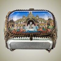 Antique French Eglomise Souvenir Casket, Box, View Of The Chateau d'Eau,  1889 Paris Grounds, France. MOP