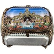 Antique French Eglomise Souvenir Casket, Box, View Of The Chateau d'Eau,  1889 Paris Grounds, France. MOP