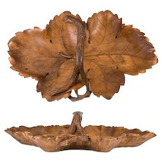"Antique Hand Carved Black Forest 19"" x 12"" Double Leaf Wood Tray with Branch Handle #2"