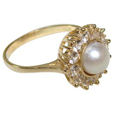 Lovely Vintage 14K Yellow Gold, White Sapphire and Pearl Cocktail Ring, Size 5.5