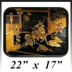 "Large Antique Napoleon III Era French Papier Mache Tray, 22"" x 17"", Japonaise, Chinoiserie"