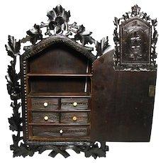 "Large Antique Victorian Era Black Forest Carved 24"" Spice or Medicine Cabinet, Foliage"