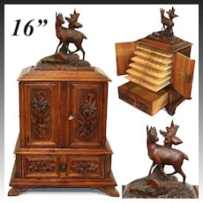 """Antique Black Forest Carved 16"""" Cigar Humidor Style Presenter, Cabinet, Chamois Figure"""