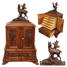 "Antique Black Forest Carved 16"" Cigar Humidor Style Presenter, Cabinet, Chamois Figure"