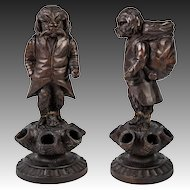 Antique HC Black Forest Animalier Carving, Dog is a Cigar & Match Holder, Stand