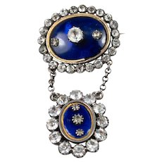 Antique French 19th c. Mourning Brooch, Sterling Silver, Paste (Faux) Diamonds, 18k Gold Mat