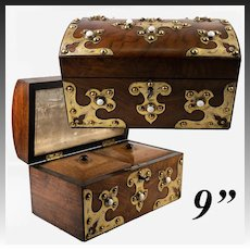 Antique English Tea Caddy, Brass Strapping, Milk Glass Cabochons, c.1860