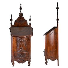"Antique 19th c. French 20"" Salt Cabinet, Chest, Box, After c.1700s Style, Finials, Carved,"