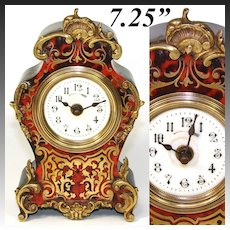 """Rare Antique French 7.25"""" Boulle Mantel or Boudoir Clock, D.H. Depose Mark, Working"""