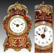 "Rare Antique French 7.25"" Boulle Mantel or Boudoir Clock, D.H. Depose Mark, Working"