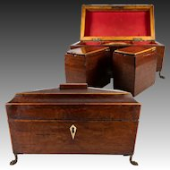 Antique English Tea Caddy, Early 1800s Regency, Double Well, Paw Feet. Lion Handles