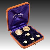 Antique French Mother of Pearl and 14K Yellow Gold Tux Collar Buttons, Cuff Links, Orig Box, Case