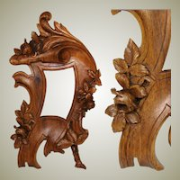 "Antique Victorian to Edwardian Era Carved Wood 10"" Picture Frame, Flowers & Foliage"
