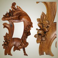 """Antique Victorian to Edwardian Era Carved Wood 10"""" Picture Frame, Flowers & Foliage"""