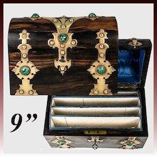 Fine Antique Writer's Box, Chest, Malachite Gem, Coromandel Trunk-Shape Casket w. Key