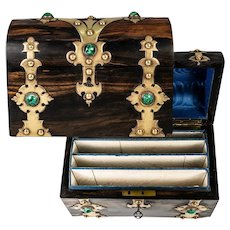 Fine Antique Writer's Box, Chest, Malachite Gem, Coromandel Trunk-Shape Casket w. Key