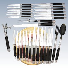 Antique French Sterling Silver & Ebony Handled 24pc Table or Dinner Knife Set + 5pc Serving in Chest