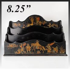 "Antique French 8.25"" Victorian Papier Mache Letter, Stationery Stand, Holder, Chinoiserie"