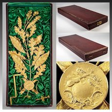 Fine 19th c. French Music Award in Case, Almost Sterling Silver, 18k Gold Vermeil Laurel Oak Leaf, Acorns