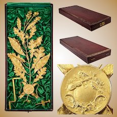 Fine 19th c. French Music Award in Case, Almost Sterling Silver, 18k Gold Vermeil Laurel Oak Leaf, Acorns