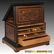 "Antique French Napoleon III ""Alph. Giroux"" Marked 12.5"" Cigar Presenter, Chest, Cabinet Box"