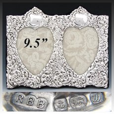 """Vintage English Sterling Silver 9.5"""" Wide Double Picture Frame, Ornate Bas Relief, Heart Views"""