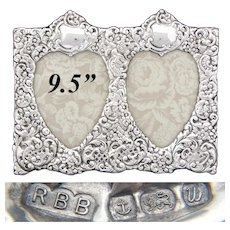 "Vintage English Sterling Silver 9.5"" Wide Double Picture Frame, Ornate Bas Relief, Heart Views"