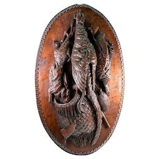 "Antique HC Black Forest 22.75"" Hunt Plaque, Spill or Smoker's Pouch, Game Birds, Rabbit"