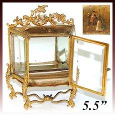 "Antique French 5.5"" Tall Gilt Ormolu & Beveled Glass Miniature Vitrine, Doll Size, Vernis Martin"
