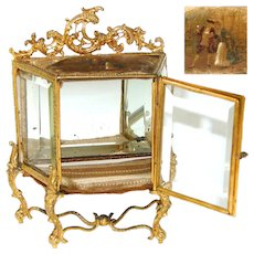 "Antique French 5.5"" Tall Gilt Ormolu & Beveled Glass Miniature Vitrine, Doll Size, Vernis Martin"