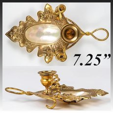 Antique French Mother of Pearl Shell Palais Royal Candle Holder in Brilliant Ormolu, c.1850s