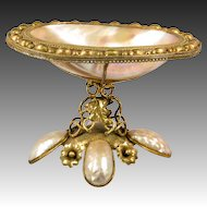 "Fabulous Antique Palais Royal Mother of Pearl & Ormolu 6.5"" BonBon or Tray, 19th c. French"