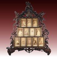 """RARE Museum Hand Carved Italy Carte De Visite Frame, 26.5"""" Tall, Chimera, Birds, Renaissance"""