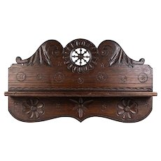 "Antique French or Belgian Hand Carved Bretton Chip Carved Pipe or Spoon Rack, 12.5"" long"