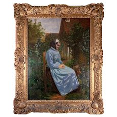 "Antique French Oil Painting, Portrait of a Lady in Outdoor Setting, Fine Victorian Frame: 30.5"" x 24.75"""