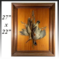 """Antique French Oil Painting, """"Trompe L'Oeil"""", Nature Still Life on Board, 27"""" x 22"""" Frame"""