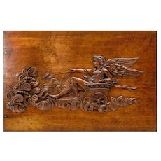 "Superb 26"" x 17"" Antique French Hand Carved Wood Panel, Apollo, Chariot"