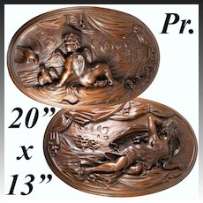 "Fine Antique French Hand Carved Wood Plaques, 20"" x 13"" Oval, Psyche and Cupid, 19c"