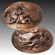 """Fine Antique French Hand Carved Wood Plaques, 20"""" x 13"""" Oval, Psyche and Cupid, 19c"""